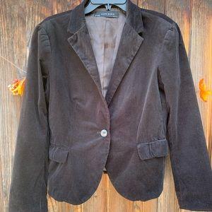 Zara Basic black corduroy one button blazer